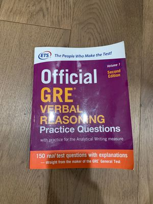GRE verbal practice questions v1 second edition for Sale in Alamo, CA