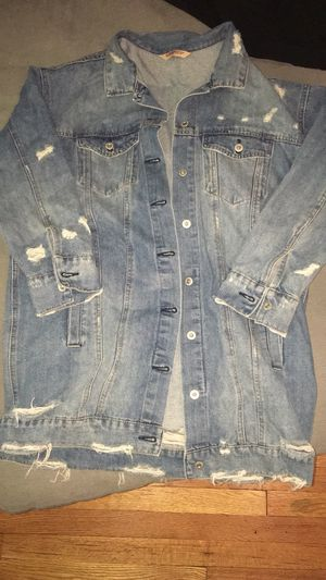 L woman's long Jean jacket for Sale in West Springfield, MA