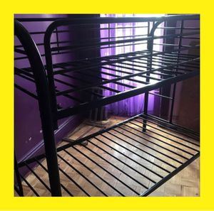 Black Metal Twin over Twin Bunk Bed with 2 FREE Mattresses for Sale in Queens, NY
