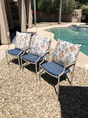 3 outdoor patio chairs outdoor stackable chairs for Sale in Gilbert, AZ