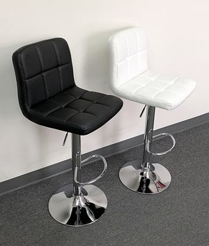 New $40 each Square Barstool Chair Swivel Adjustable Bar Stool PU Leather Color: White/Black for Sale in Whittier, CA