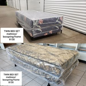 BASIC TWIN BED SET - MATTRESS/BOXSPRING/FRAME - VERY AFFORDABLE!! for Sale in Rock Island, IL