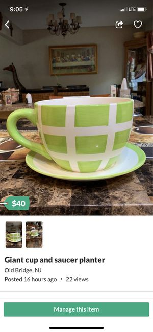 Giant cup and saucer planter for Sale in Old Bridge, NJ