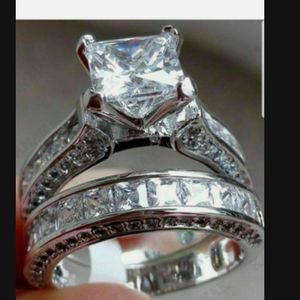 ❤Womens Wedding Engagement Ring Set Princess White Cz 925 Sterling Silver Sz 5-10❤ for Sale in Moreno Valley, CA