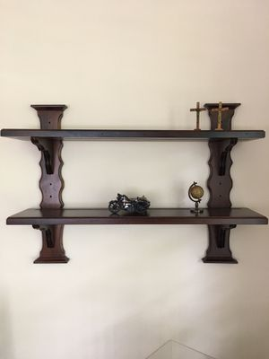 DARK WOOD WALL MOUNT DISPLAY SHELVES for Sale in Pompano Beach, FL