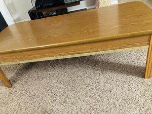 Solid Rectangular Wood Coffee Table with Gold Metal Accent Bar for Sale in Dublin, OH