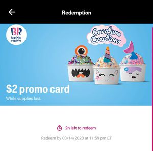 Free Baskin Robin Promo Card for Sale in Glenview, IL