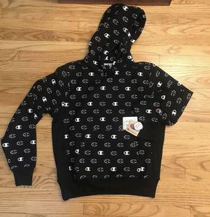 Men Champion Reverse Weave Hoodie All Over Print Hoodie size XL black for Sale in Bridgeport, CT