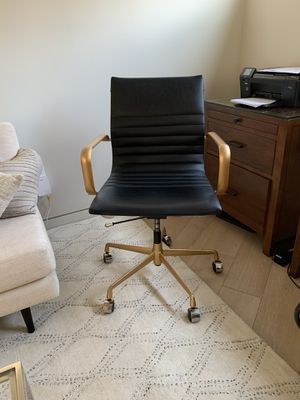 Black leather desk chair with gold accents for Sale in Hermosa Beach, CA
