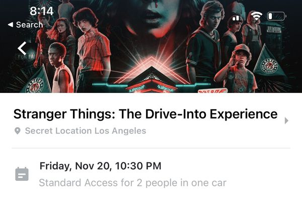 Ticket for Stranger Things event in LA