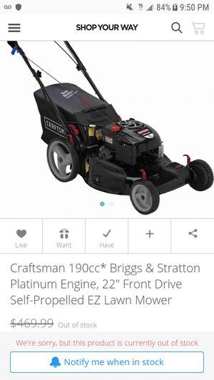 Craftsman platinum series self propelled electric start lawn mower for Sale in Spanaway, WA