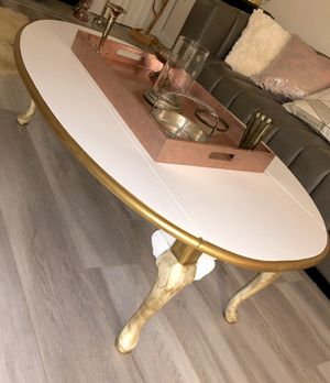 Antique Drop Leaf Coffee Table - Custom Painted in white and gold for Sale in Los Angeles, CA
