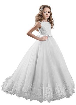 New WHITE Wedding Flower Girl Dress Prom Princess Pageant Communion Bridesmaid Formal for Sale in Zebulon, NC