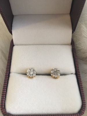 REAL Diamond Earrings with Gold Accents for Sale in Greensboro, NC
