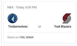 Trail blazers vs minnesora Timberwolves (sunday) for Sale in Portland, OR