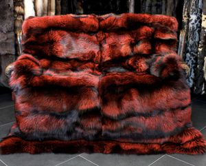 Extraordinary fur blanket in Ferrari red - Silverfox from SAGA FURS for Sale in San Diego, CA