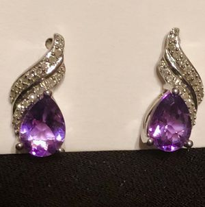 SPECIAL 10% off: Amethyst and Diamond in SS Earrings Genuine Stones for Sale in Raleigh, NC