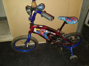Spiderman bike with training wheels .16in wheel. looks new for Sale in Ontario, CA
