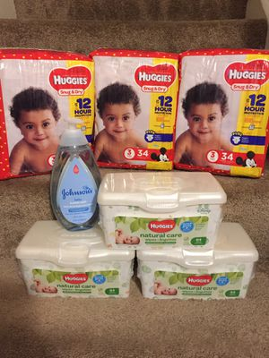 Huggies size 3, wipes and baby bath bundle - SOLD EXACTLY AS PICTURED NO SUBSTITUTIONS for Sale in Tucker, GA