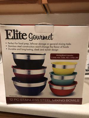 Elite Gourmet 12 pc Stainless Steel bowl set for Sale in Las Vegas, NV