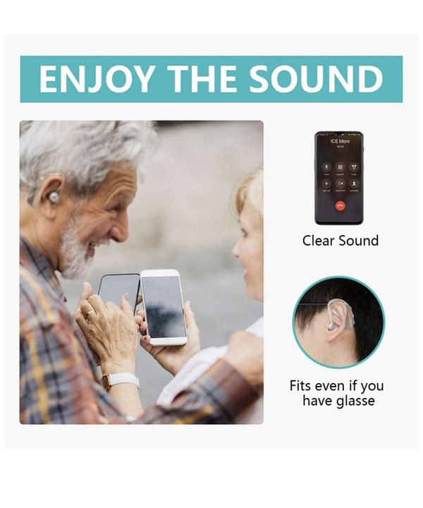 Smart Hearing Amplifier with Digital Noise Reduction,Rechargeable Sound Aids with Double Charging Holes Suitable for Adults and Seniors (Only1 Aid)