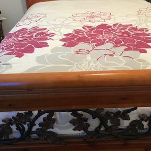 Bed Frame With Wooden Side Railing And Metal Detail for Sale in Carrollton, TX