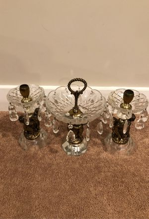 Glass Cherub candle holders with candy dish for Sale in Kensington, MD
