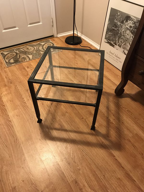 Small metal and glass table with shelf