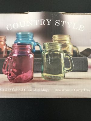 Circleware Country Style 7-piece Colored Glass Mini Mugs with One Wooden Carry Tray for Sale in Fairfax, VA
