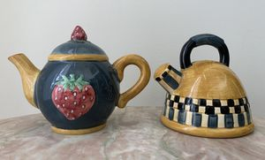Debbie Mumm Hand Painted Ceramic Teapot and Kettle Set of Salt and Pepper Shakers Collectible Decor by Sakura China for Sale in Peachtree Corners, GA