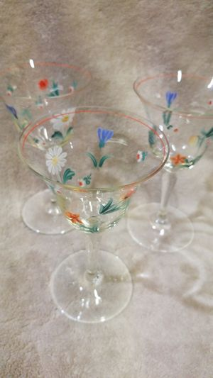 Antique handpainted wine glasses set of 3 for Sale in Batsto, NJ