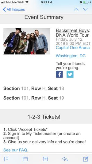 Backstreet Boys tickets for Sale in Silver Spring, MD