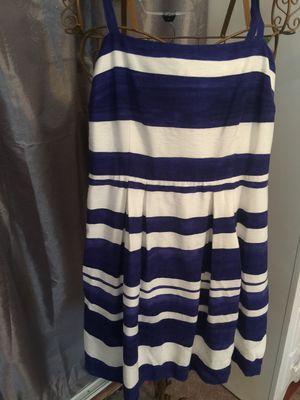 New ANN TAYLOR LOFT designer spring summer dress classy look sailor stripes navy and white size 6 petite pristine zip back cotton blend for Sale in Brecksville, OH