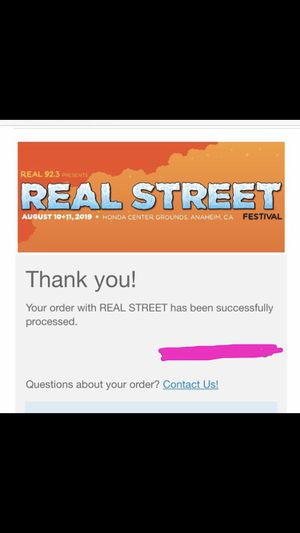 2 Real Street Festival Saturday Pass only (x2 GA) for Sale in Santa Ana, CA