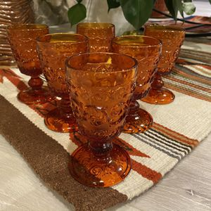 Set of 6 Vintage Amber Footed Goblets for Sale in Newport Beach, CA