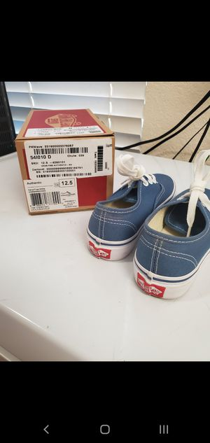 Blue and white Vans shoes preschool boys 12 1/2 for Sale in San Francisco, CA