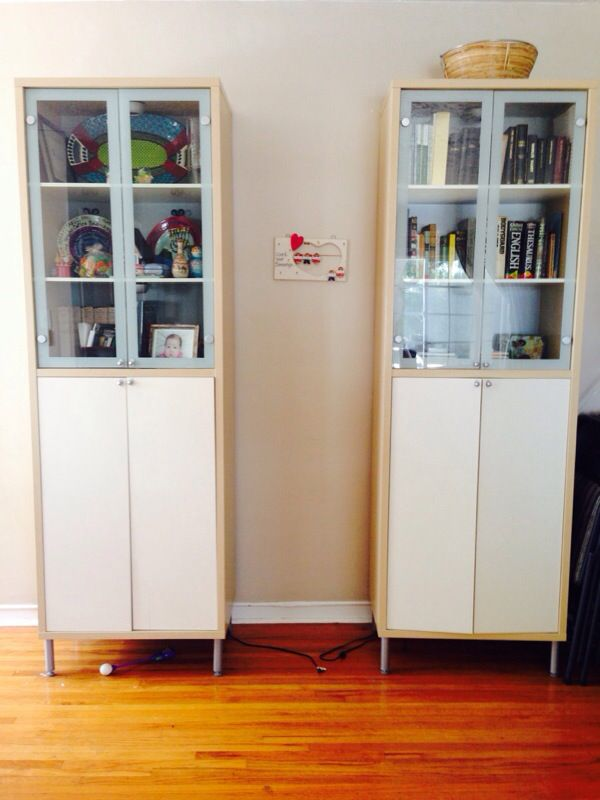 Matching Pair Of Ikea Magiker Display Cabinets Bookcase