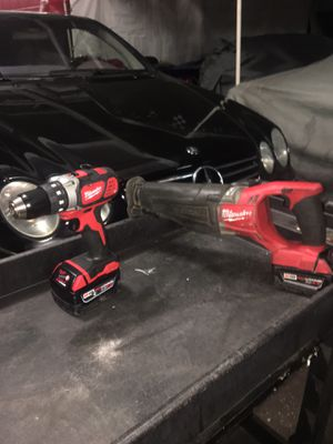 Milwaukee m18 drill and sawzall 2 5.0 batteries for Sale in The Bronx, NY