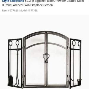 Style Selections50.3-in Eggshell Black/Powder Coated Steel 3-Panel Arched Twin Fireplace Screen for Sale in Claremont, CA