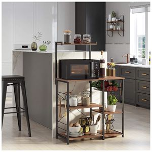Baker's Rack with Shelves, Kitchen Shelf with Wire Basket, 6 S-Hooks, Microwave Oven Stand, Utility Storage for Spices, Pots, and Pans, Hazelnut Brown for Sale in Rancho Cucamonga, CA