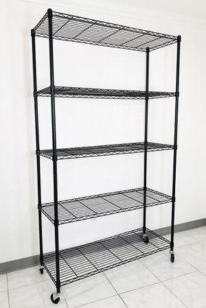 "New $90 Metal 5-Shelf Shelving Storage Unit Wire Organizer Rack Adjustable w/ Wheel Casters 48x18x82"" for Sale in Whittier, CA"