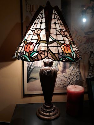 Tiffany Antique Stained Glass Lamp, Climbing flowers for Sale in Los Angeles, CA
