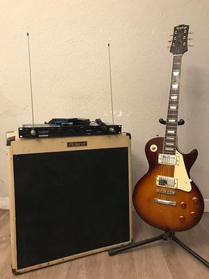 Guitar gear ( electric guitar, guitar amplifier, electric guitar wireless sistem, fender, Gibson, ibanez, guild, Epiphone, charvel, carvin, Dean. Dan for Sale in Los Angeles, CA