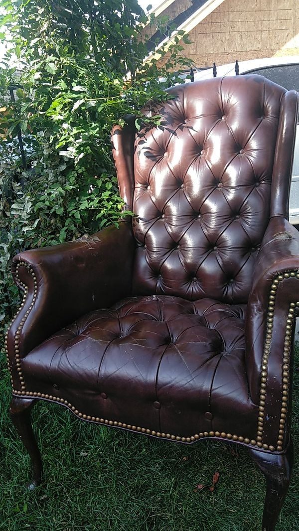 Brown leather office style chair