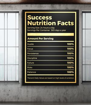 Success Nutrition Facts Poster for Sale in Southfield, MI