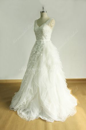 Customized White Tulle Floral Lace Size 12 Wedding Dress for Sale in Kingsport, TN