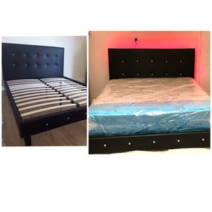 New queen bed frame with led light and mattress included for Sale in Pompano Beach, FL