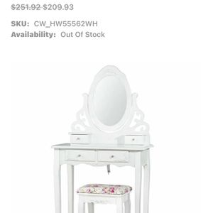 New! White Wooden Vanity With Stool for Sale in Rancho Cucamonga, CA