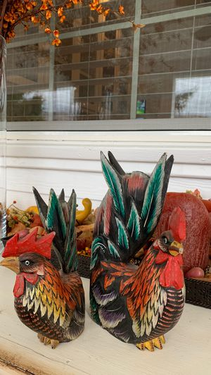 2 wood roosters for Sale in Wenatchee, WA