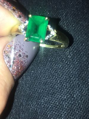 Beautiful 10 karat gold Emerald and diamond ring size 7 for Sale in Colorado Springs, CO
